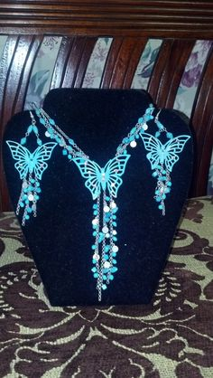 Metal Turqoise and Silver Tone Butterfly Necklace and Earring Set $39.95