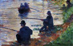 Жорж-Пьер Сёра. Рыбаки1883  Дерево, масло.  Musee d'Art Moderne de Troyes