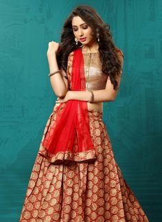 Red Art Silk A Line Lehenga Choli