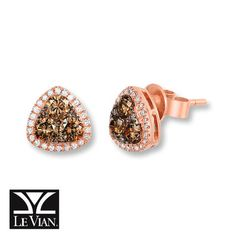 Le Vian Chocolate Diamonds 1 Ct Tw Earrings In 14k Strawberry Gold