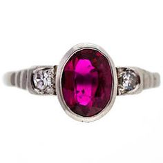 Art Deco Red Oval Natural Ruby Diamond Platinum Ring