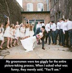 Funny Pictures Of The Day - 102 Pics <<<--- I don't support the groomsmen doing that, but hey! It's funny XD Funny Shit, Funny Posts, Funny Cute, The Funny, Hilarious, Funny Stuff, Crazy Funny, Random Stuff, Super Funny