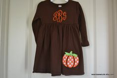 Monogrammed Pumpkin Empire Waist Dress - Great for Fall, Halloween and Thanksgiving. $30.00, via Etsy.