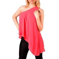 Asymetrisches Schulterfreies Chiffon Top One Shoulder, Chiffon, Blouse, Tops, Shirts, Women, Fashion, Silk Fabric, Moda