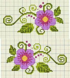 Resultado de imagen para flores rosas a punto de cruz
