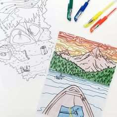 It is still a tad bit too chilly for camping so we are going on a coloring adventure with our Take a Hike Adult Coloring Book by @jaredwright