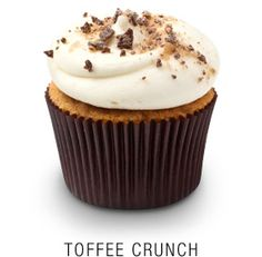 From Georgetown Cupcake: Toffee cupcake with a toffee-infused vanilla frosting topped with crushed heath bar