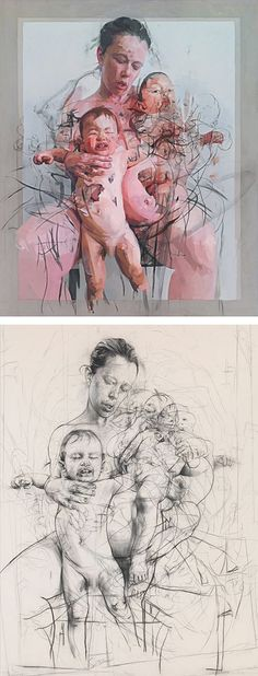 Jenny Saville, seated nude female mother holding two naked infants, oil on canvas #grunge #expressionist final painting with preliminary pencil drawing. (http://www.ft.com/cms/s/2/b5fc8fd6-c6bf-11e1-943a-00144feabdc0.html#axzz22hi6ggsp)