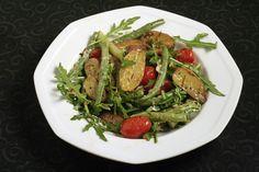 Roasted Fingerling and Tomato, Dragon Tongue Beans and Arugula Salad