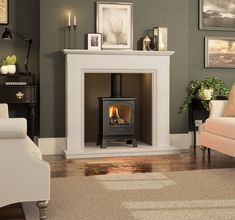 Broseley Hereford 5 Gas Stove - Gas Stoves - All Stoves - Stoves Are Us Home Living Room, Home, Fireplace Surrounds, Log Burner Living Room, Living Room Inspiration, Fireplace, Cosy Living Room, Edwardian Fireplace, Victorian Living Room