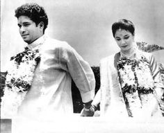 Sachin Tendulkar on his wedding day with his wife Anjali