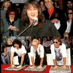 Eddie Van Halen supporting Alex Van Halen as he is inducted into the Hollywood Rockwalk, June 18th 1991, alongside Carmine  Appice & Ginger Baker!