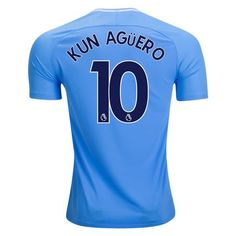 Manchester City 2017/18 Home Men Soccer Jersey KUN AGUERO #10
