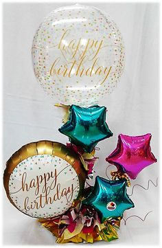 Happy Birthday with large bubble balloon, round and star shaped foil balloons. Bubble Balloons, Foil Balloons, Candy Bouquet, Balloon Bouquet, Balloon Centerpieces, Balloon Decorations, Party In A Box, Birthday Balloons, Fun Crafts