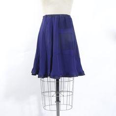 Navy Blue Patchwork Silk Chiffon Skirt