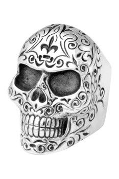 King Baby Sterling Silver Engraved Scroll Work Large Skull Ring