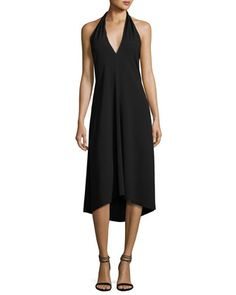 Araci+Rosina+Crepe+V-Neck+Halter+Midi+Dress,+Black+by+Theory+at+Bergdorf+Goodman.