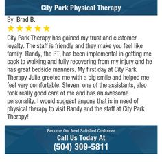 City Park Therapy has gained my trust and customer loyalty. The staff is friendly and they...