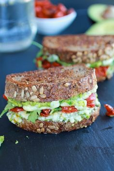Blue cheese and smashed avocado and roasted tomato grilled cheese