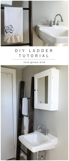 Learn how to make a DIY Decorative Ladder with this simple, step-by-step tutorial! Use it to hang towels in a bathroom, blankets in a living room, or to add height to your room!