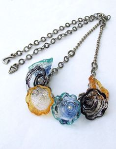Handmade Lampwork Necklace Amber Black and by silviaizkovich, $120.00