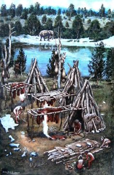 Libor Balák - Bilzingsleben campsite in Central Germany some years ago in the Middle Paleolithic Paleolithic Era, Prehistoric Man, Ages Of Man, Indigenous Tribes, Primitive Survival, Pagan Witch, Minoan, Stone Age, Cool Landscapes