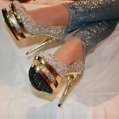 Hot Luxurious Rhinestone Platform Stiletto Heels