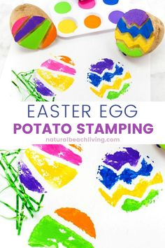 Easter Egg Potato Stamp Ideas for Kids, Great Easter Craft for preschoolers, Potato Stamping for kids, Easter Art for preschoolers and Spring Activities for Kids, Easter ideas for preschoolers Easter Art, Easter Crafts For Kids, Easter Eggs, Easter Stuff, Easter Ideas, Fun Activities For Toddlers, Easter Activities, Spring Activities, Potato Stamp