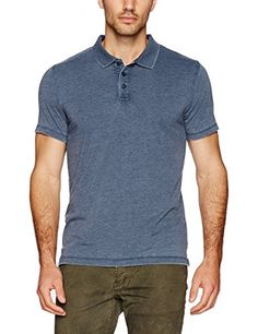 Lucky Brand Mens Burnout Knit Polo American Navy Large -- You can get additional details at the image link. #MenFashion
