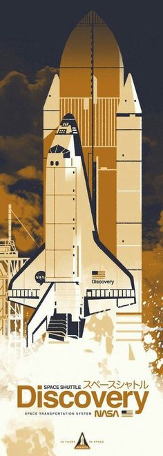 "NASA - Space Shuttle, ""Discovery"" ~ Graphic Illustration by Kevin Dart Space Illustration, Illustrations, Desenho Pop Art, Graphisches Design, Graphic Design, Retro Poster, Space And Astronomy, Nasa Space, Space Telescope"