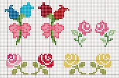 This Pin was discovered by Aur Tiny Cross Stitch, Cross Stitch Boards, Cross Stitch Flowers, Cross Stitch Designs, Cross Stitch Patterns, Loom Patterns, Cross Stitching, Cross Stitch Embroidery, Embroidery Patterns