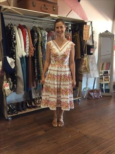 Vintage cotton sheet dress Upcycled