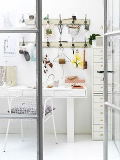 A workspace with whimsical storage.