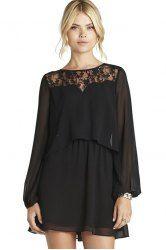 Ladylike Style Jewel Neck Long Sleeve Lace Splicing Back Slit Women's Dress