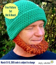 IRISH CHIN BEARD HAT SET, crochet pattern by Simply Collectible, free with coupon code through March 16, 2015
