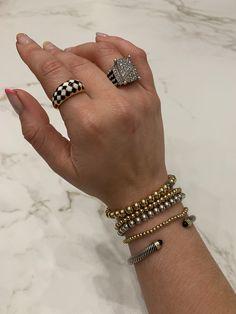 Jewelry | Black and White enamel ring by Rellery, David Yurman Wheaton Diamond Ring, 100 Percent Beads gold beaded bracelets, David Yurman cabel bracelet Fashion Accessories, Fashion Jewelry, David Yurman, White Enamel, Gold Beads, Styling Tips, Beaded Bracelets, Black And White, Diamond