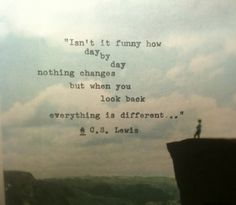 isn't it funny how day by day nothing changes but when u look back everything is different c.s.lewis