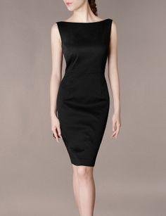 Formal Concert Black Dress Elegant Slim Boat Neck Sleeveless Black Evening Dress Ceremony Celebrity M XXL  W38