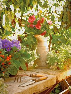 Stone slabs as table toppers for the garden.