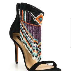 Shop Women's SCHUTZ Purple Black size 6 Sandals at a discounted price at Poshmark. Description: Suede and beads , free spirit look. Never used and it is in perfect condition. Beaded Shoes, Beaded Sandals, Suede Sandals, Shoes Sandals, Open Toe Shoes, Open Toe Sandals, Cute Shoes, Me Too Shoes, Fringe Sandals