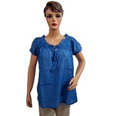 Bollywood Designer Off Shoulder Tunic Top Dark Blue Cotton Blouse for Women Medium Size (Apparel)
