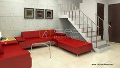 Conceptual Architecture, Red Sofa, Couch, Interior, Furniture, Home Decor, Indoor, Concept Architecture, Sofa
