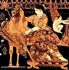 Dionysus & Ariadne, Athenian red-figure krater C5th B.C., Archaeological Museum