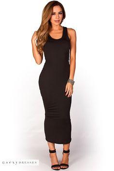 """Danya"" Black Casual Jersey Bodycon Midi Dress"