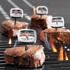Steak button thermometers from Sur La table. - awesome idea,  no need to touch the steaks for doneness
