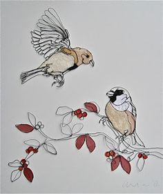 """""""Two Rare Birds"""" Sculptural Drawing By Christina James Nielsen"""