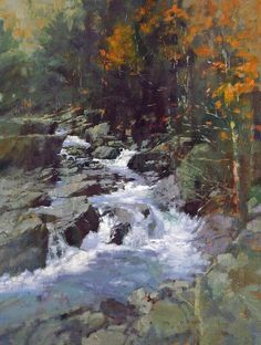 "MICHAEL DUDASH ""Lincoln Mountain Brook"" - oil on linen - 24""h x 18""w"