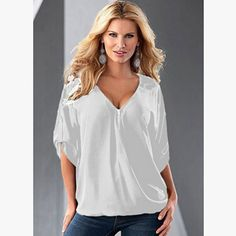 Blusas Sexy Women V neck Chiffon Blouse Casual Half Sleeve Solid Shirts Tops Plus Size. Click visit to buy #Blouse #Shirt #BlouseShirt