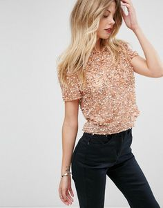ASOS T-Shirt With All over Sequins - Pink