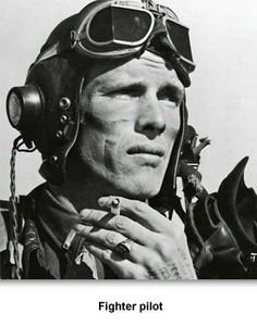 A P-51 fighter pilot after a mission...